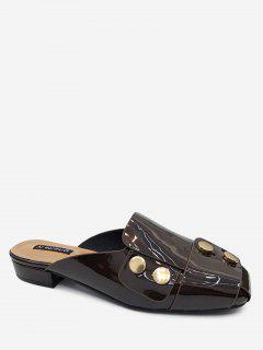 Studded Flat Mules Shoes - Brown 36