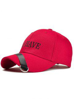 Unique Ribbon Ring Decorated Baseball Hat - Red