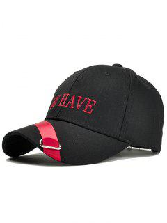 Unique Ribbon Ring Decorated Baseball Hat - Black