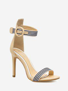 Striped Ankle Strap Sandals - Apricot 36