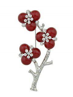 Rhinestone Flower Branch Brooch - Silver