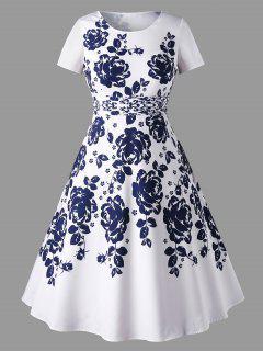 Robe à Imprimé Floral à Manches Courtes Et Grande Taille - Blanc 5xl