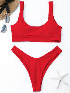 Scoop High Cut Bikini Set - Leuchtend Rot  S