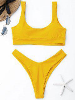 Scooped High Cut Bikini Set - Amarillo M