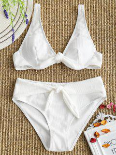 Textured Underwire Tied Bikini Set - White L
