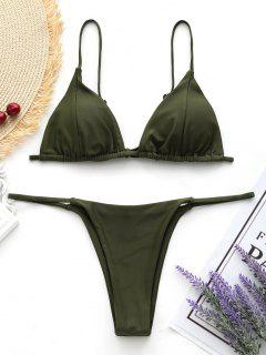 Cami Back Tied Thong Bikini Set - Army Green L