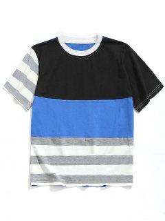 Stripe Color Block T-shirt - Blue Xl