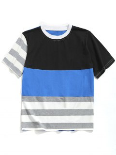 Stripe Color Block T-shirt - Blue L