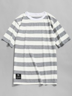 Stripe Crew Neck T-shirt - Grey And White L