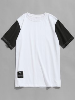T-shirt Col Ras Du Cou à Manches Contrastantes - Blanc L