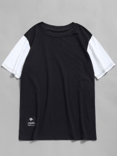 Contrast Sleeve Crew Neck T-shirt - Black L