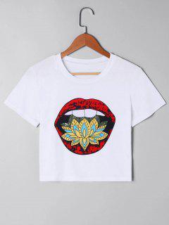 Camiseta Corta Con Estampado De Labios - Blanco M