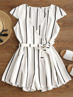Plunging Neck Striped Belted Romper - White S