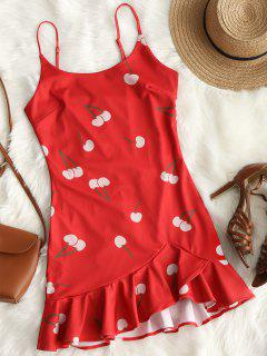 Cherry Print Ruffle Hem Cami Dress - Red L