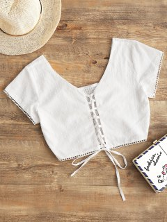 Smocked Back Cropped Lace Up Top - White L