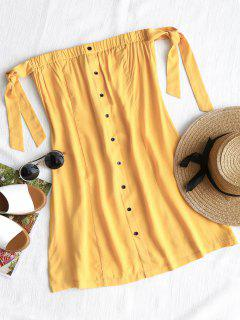 Tied Button Up Mini Dress - Yellow S