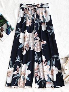 Pantalones De Pierna Ancha Florales Con Cinturón - Azul Purpúreo M