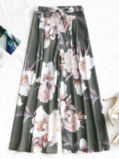 Belted Floral Wide Leg Pants - Army Green M
