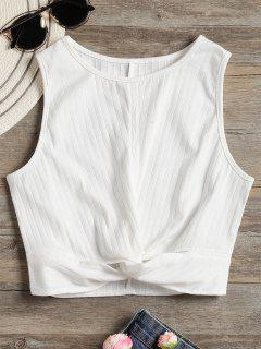 Twisted Crop Tank Top - White L