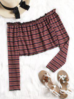 Off Shoulder Frilled Stripes Top - Stripe M