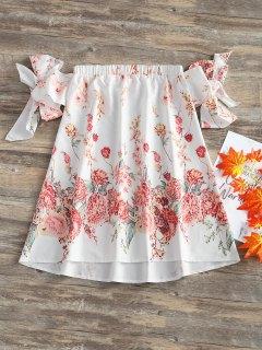 Schulterfreies Blumen Trapez Kleid - Weiß L