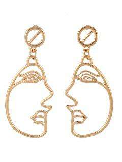 Alloy Side Face Hollow Out Dangle Earrings - Golden