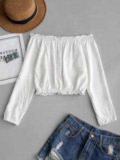 Blusa Sin Hombros Con Volantes - Blanco