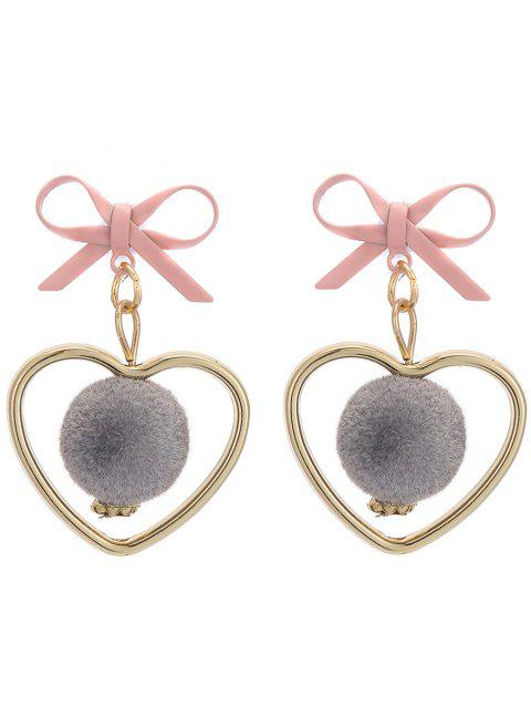 outfits Fuzzy Ball Heart Bows Earrings - GRAY  Mobile