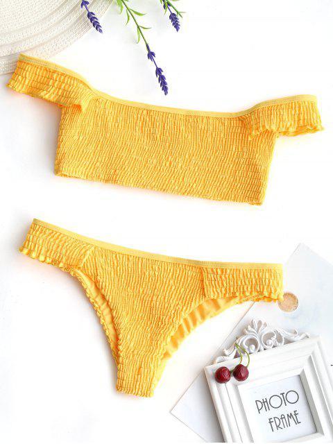 Bikini deshilachado con volados en el hombro - Amarillo S Mobile