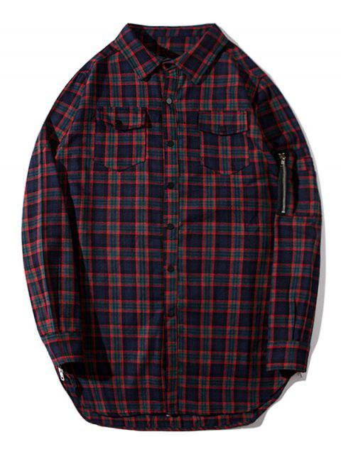 shop Flap Pockets Side Zipper Plaid Shirt - PLAID 2XL Mobile