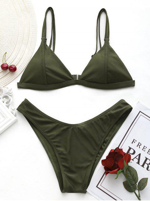 Cami Hohe Schlitz Tanga Bikini Set - Bundeswehrgrün M Mobile
