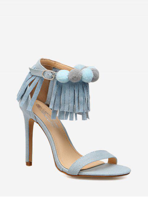 Sandalias de tacón de aguja con flecos en el tobillo - Azul 37 Mobile