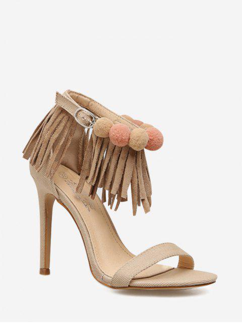 Sandales à Talons Aiguilles avec Bride à la Cheville Ornées de Franges - Abricot 35 Mobile