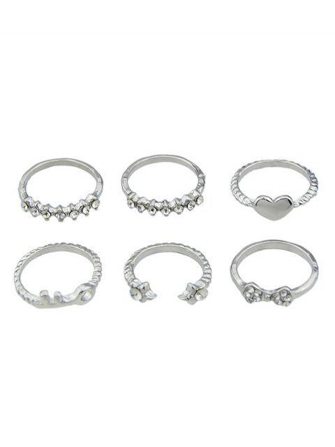 Faux Crystal Metal Key Heart Juego de anillos abiertos - Plata  Mobile