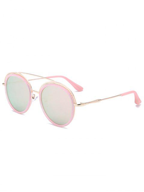 Crossbar Hollow Out decorado gafas de sol redondas - Marco Rosado + Lente Rosada  Mobile