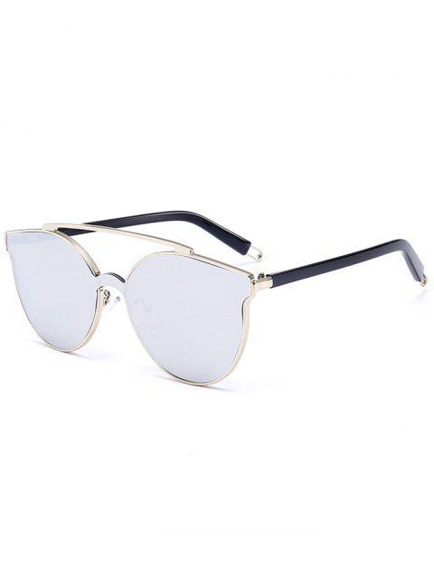 Metall Full Frame Crossbar verziert Cat Eye Sonnenbrille - Silberer Rahmen + Weiße Linse  Mobile