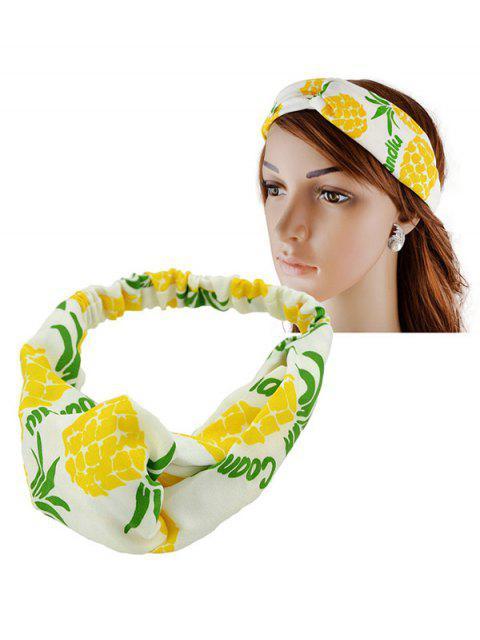 Bande de cheveux élastiques d'impression d'ananas de fruit - Jaune  Mobile