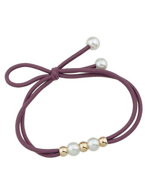 shops Cute Faux Pearl Elastic Hair Band - WINE RED  Mobile