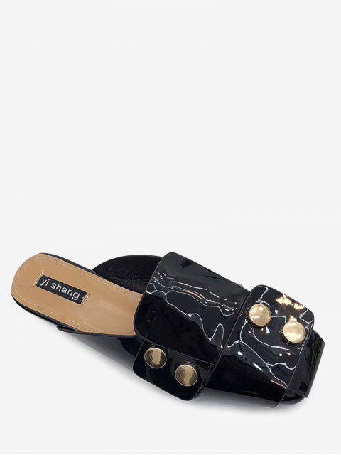 unique Studded Flat Mules Shoes - BLACK 38 Mobile