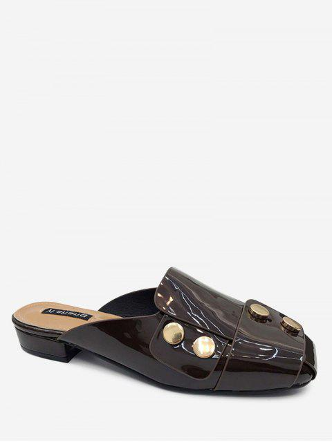 ladies Studded Flat Mules Shoes - BROWN 40 Mobile