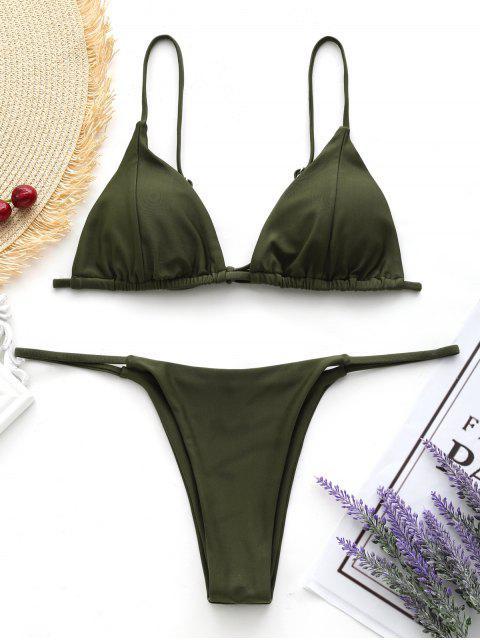 new Cami Back Tied Thong Bikini Set - ARMY GREEN XS Mobile