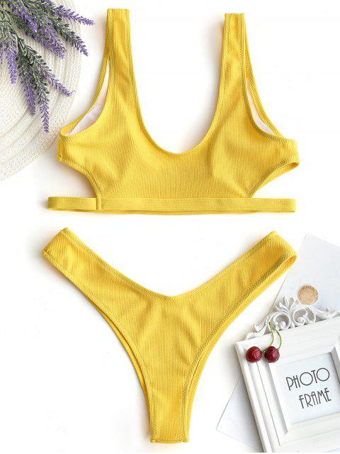 best Cut Out Bikini Bra with Thong Bottoms - MUSTARD M Mobile