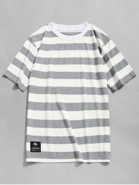 chic Stripe Crew Neck T-shirt - GREY AND WHITE L Mobile