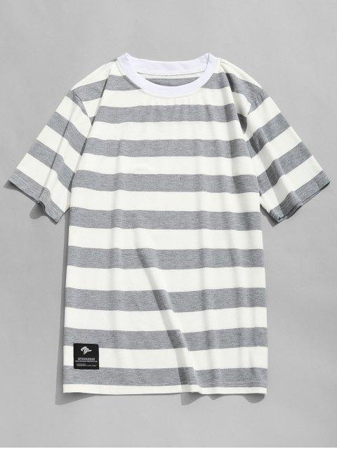T-shirt Ras du Cou à Rayures - Gris et Blanc L Mobile
