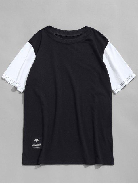 womens Contrast Sleeve Crew Neck T-shirt - BLACK L Mobile