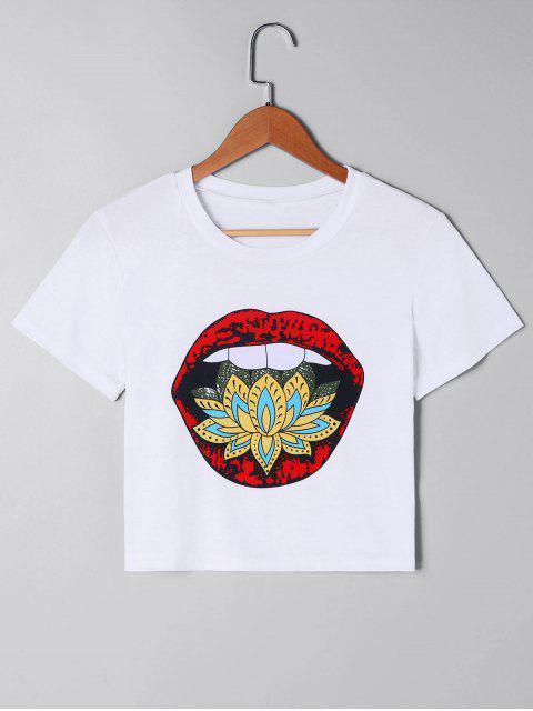 Camiseta corta con estampado de labios - Blanco L Mobile