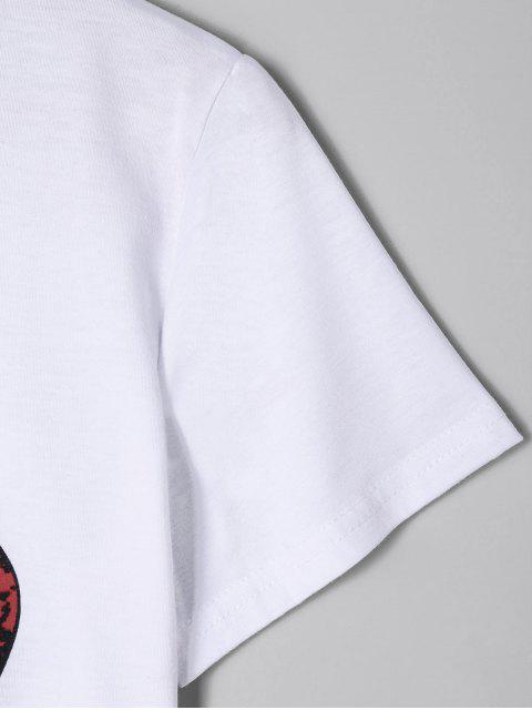 fashion Lip Print Graphic Cropped T-shirt - WHITE L Mobile