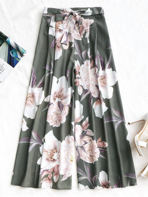 women Belted Floral Wide Leg Pants - ARMY GREEN S Mobile
