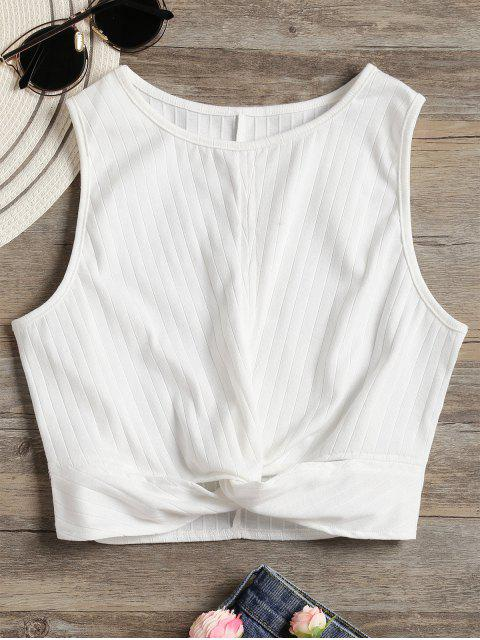 trendy Twisted Crop Tank Top - WHITE XL Mobile