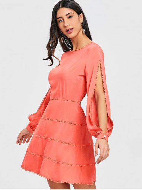 Robe Ouverte Au Dos à Manches Longues Fendues - Orange Rose L Mobile